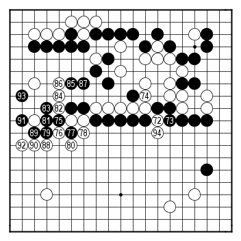 Kisei 2008, game 6, moves 72-94