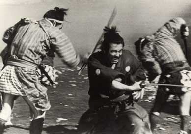 Samurai fighting several enemies